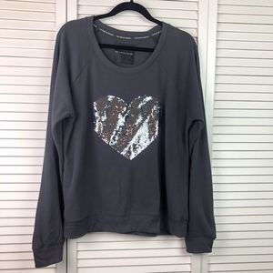 3/$20 Victoria's Secret Sequin Heart Gray Sweater